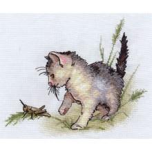 """К-0803 Набор для вышивания """"Котенок с кузнечиком"""""""